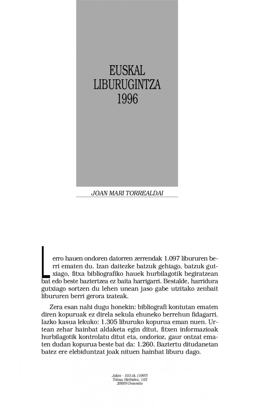 Euskal liburugintza 1996