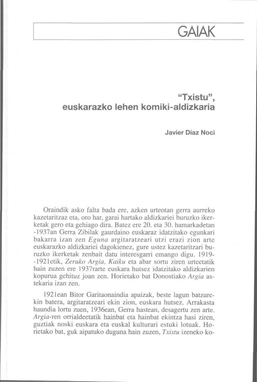 «Txistu», euskarazko lehen komiki-aldizkaria