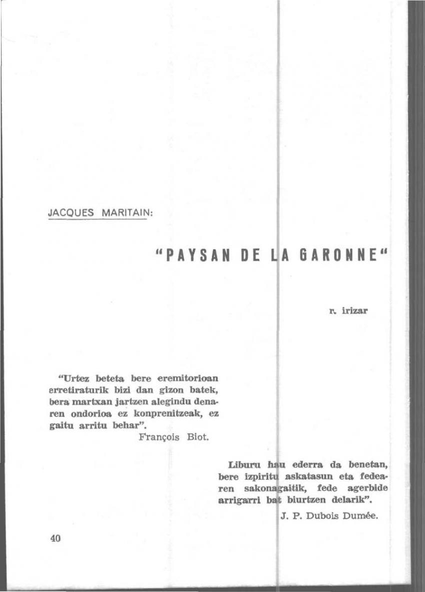 Jacques Maritain: «Paysan de la Garonne»