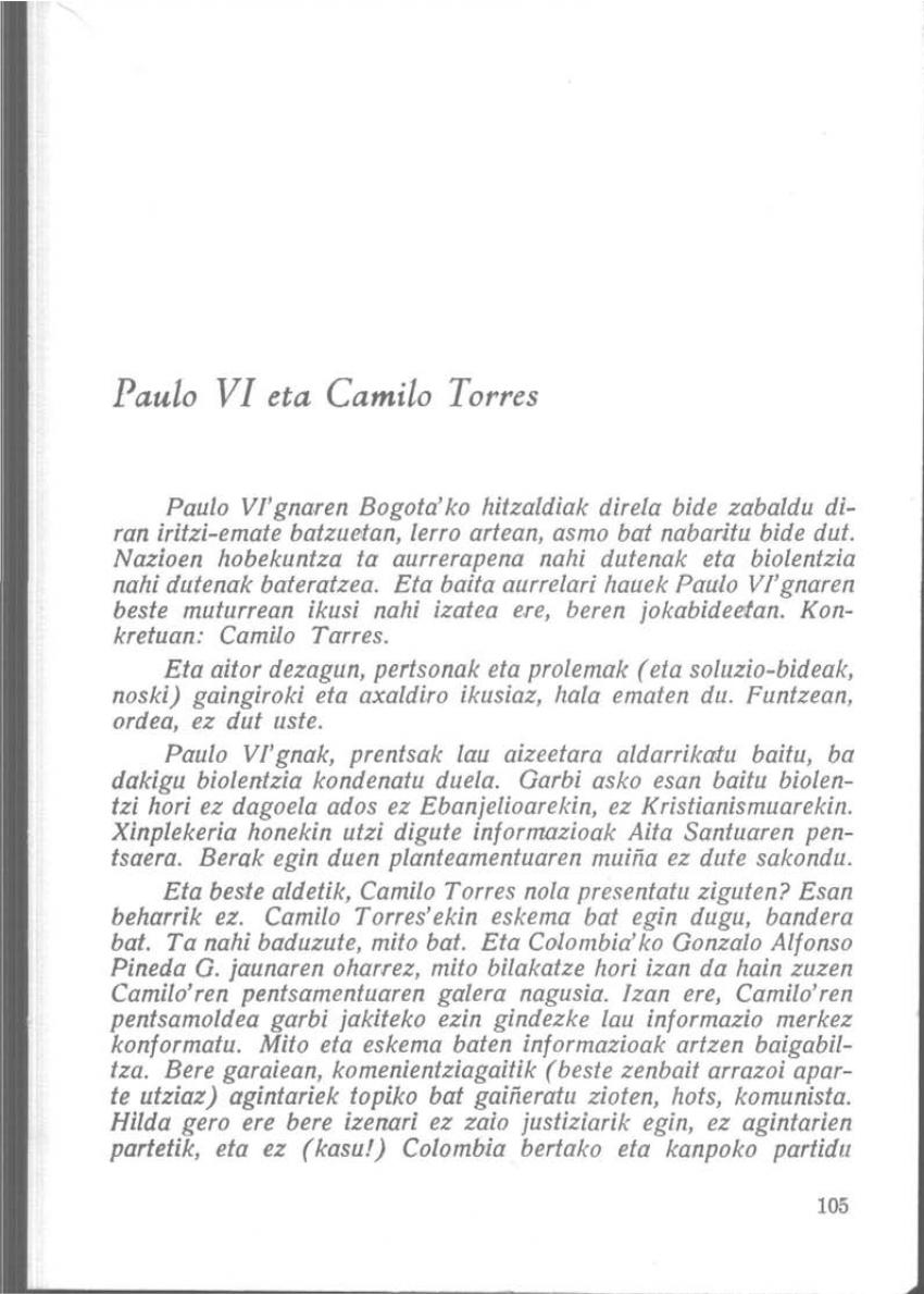 Paulo VI eta Camilo Torres