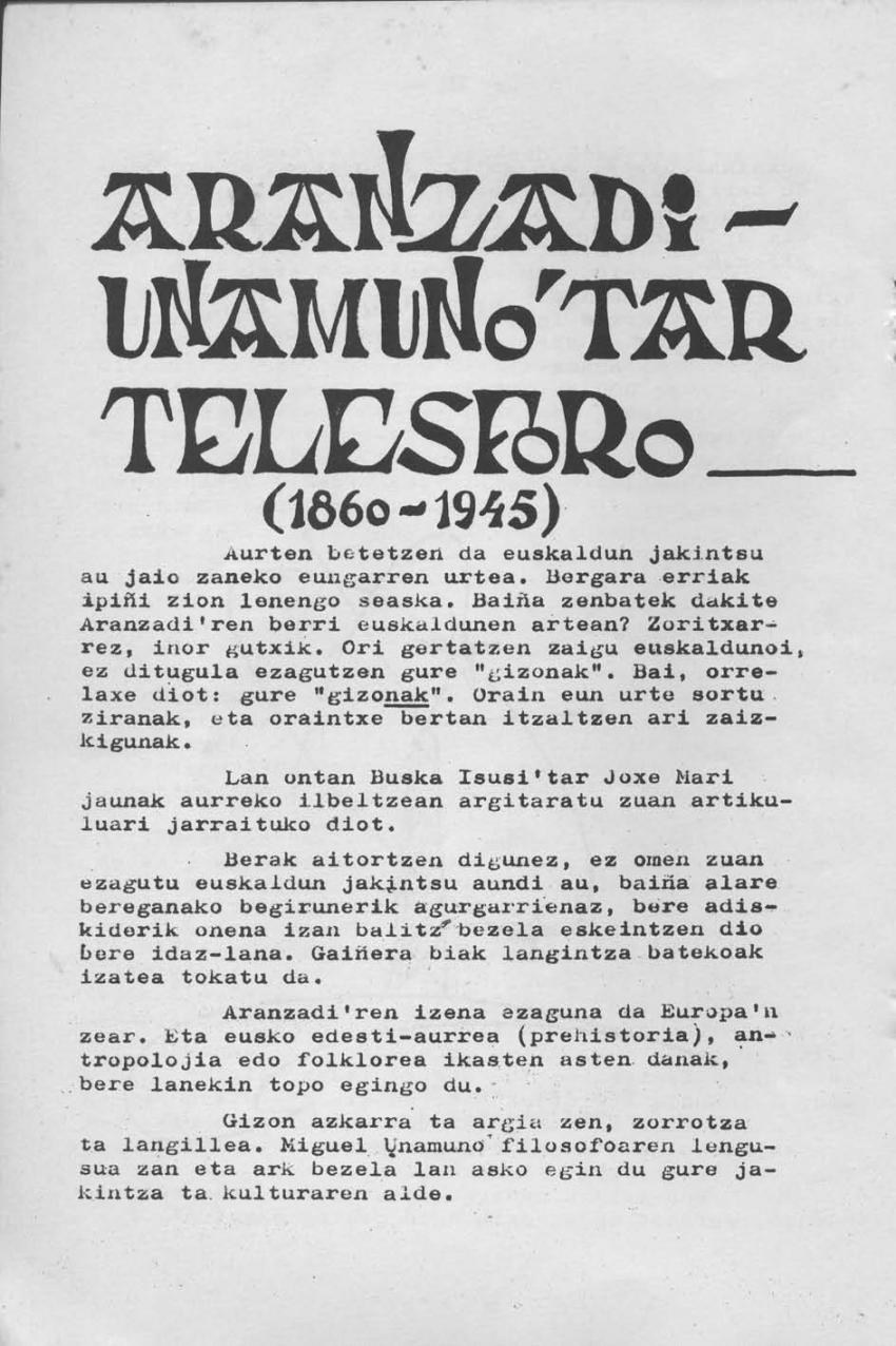 Aranzadi-Unamuno'tar Telesforo (1860-1945)
