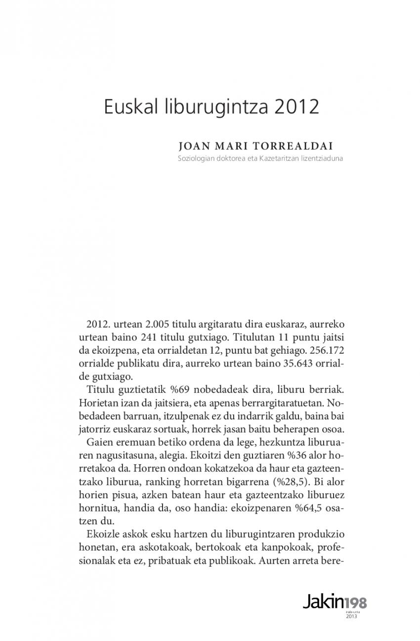 Euskal liburugintza 2012