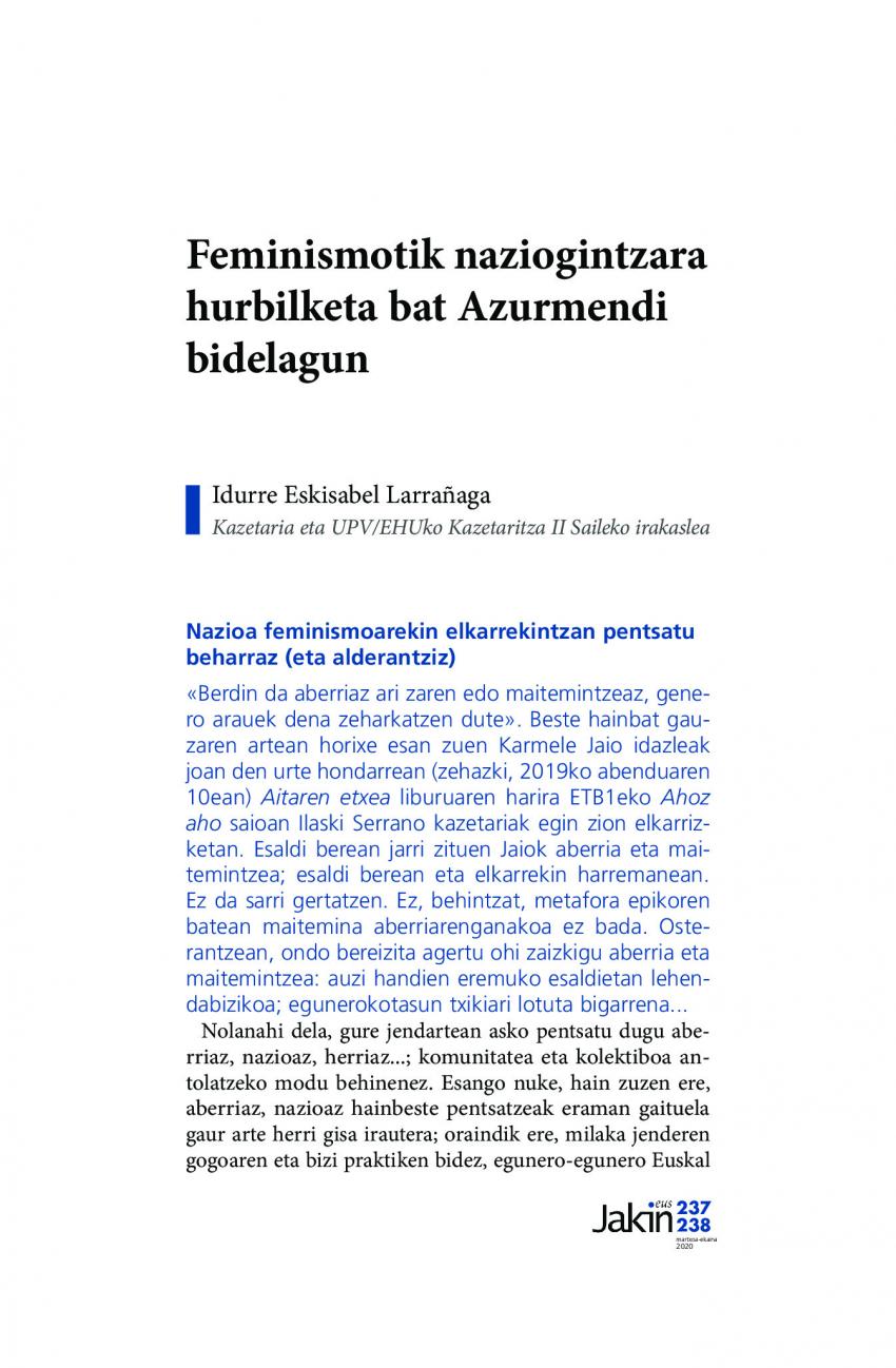 Feminismotik naziogintzara hurbilketa bat Azurmendi bidelagun