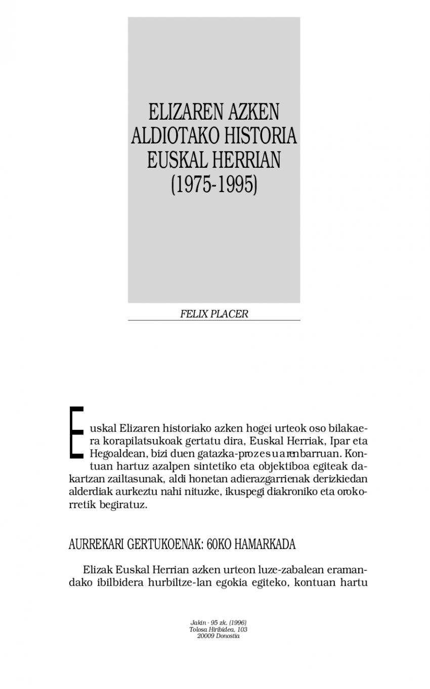 Elizaren azken aldiotako historia Euskal Herrian (1975-95)
