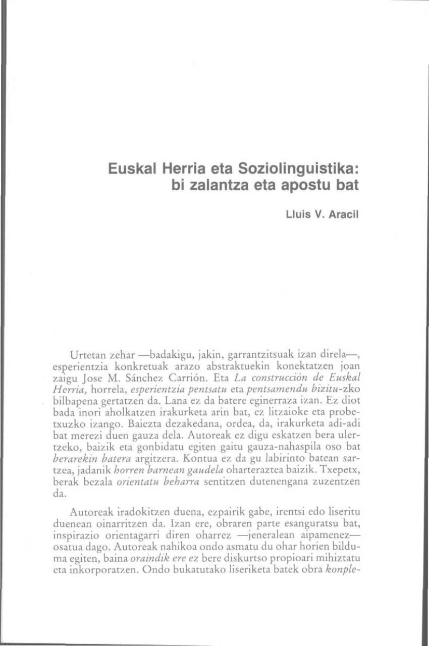 Euskal Herria eta soziolinguistika: bi zalantza eta apostu bat