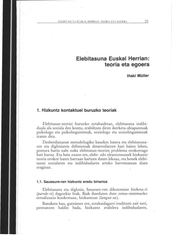 Elebitasuna Euskal Herrian: teoria eta egoera