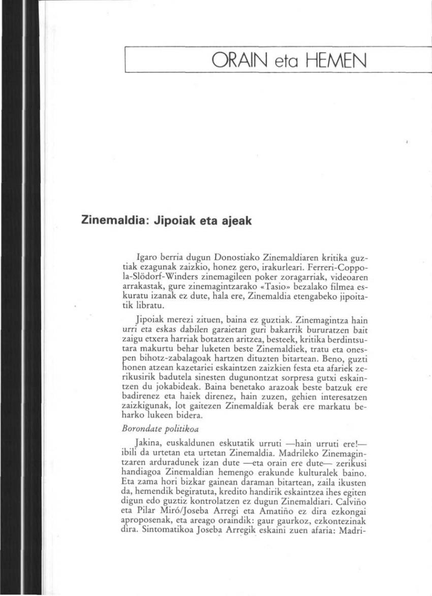 Zinemaldia: jipoiak eta ajeak (Orain eta Hemen)