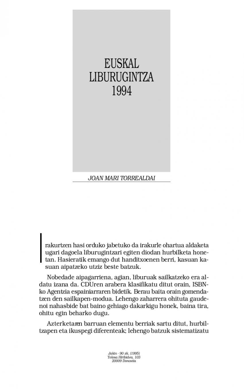Euskal liburugintza 1994