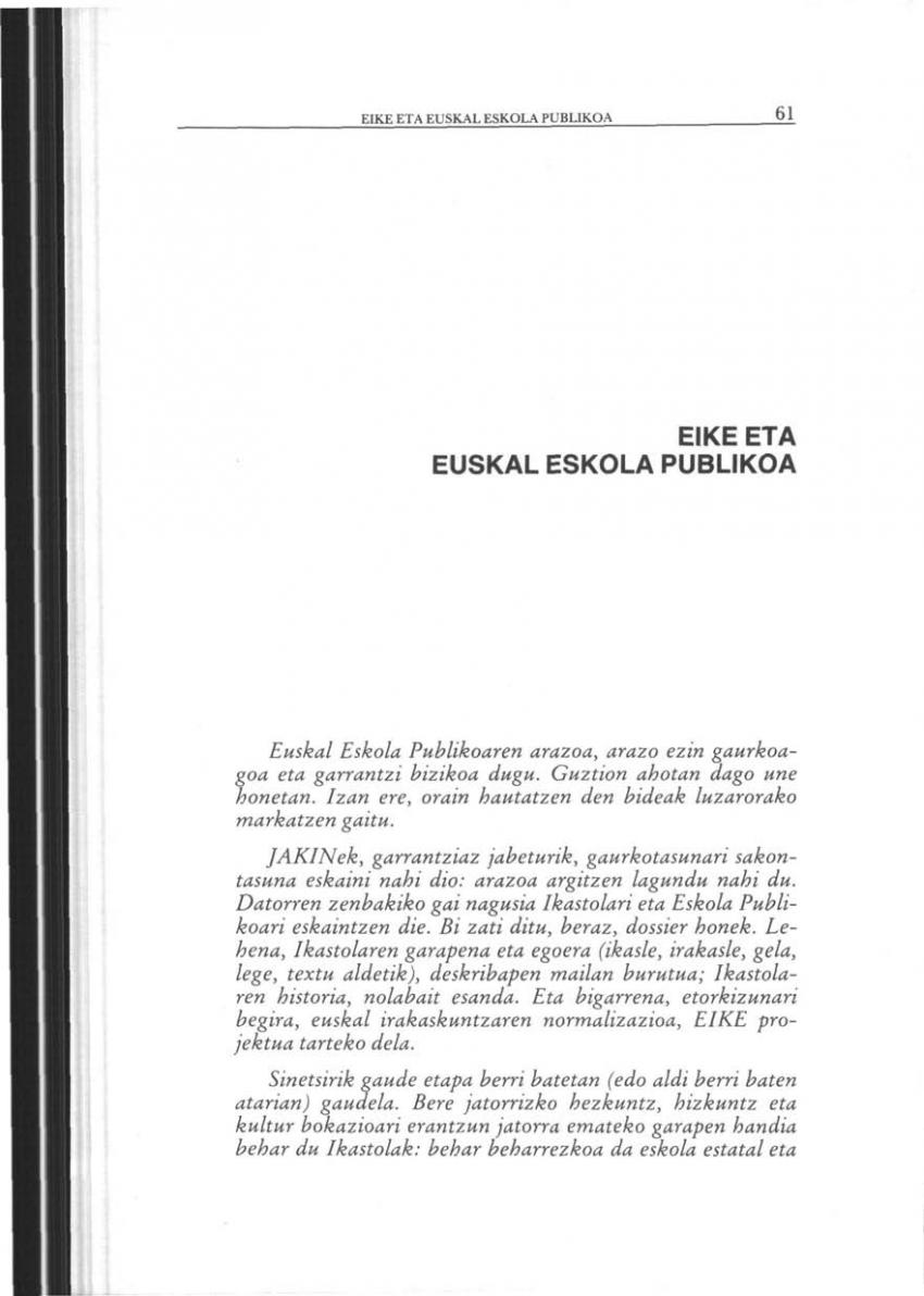EIKE eta Euskal Eskola Publikoa