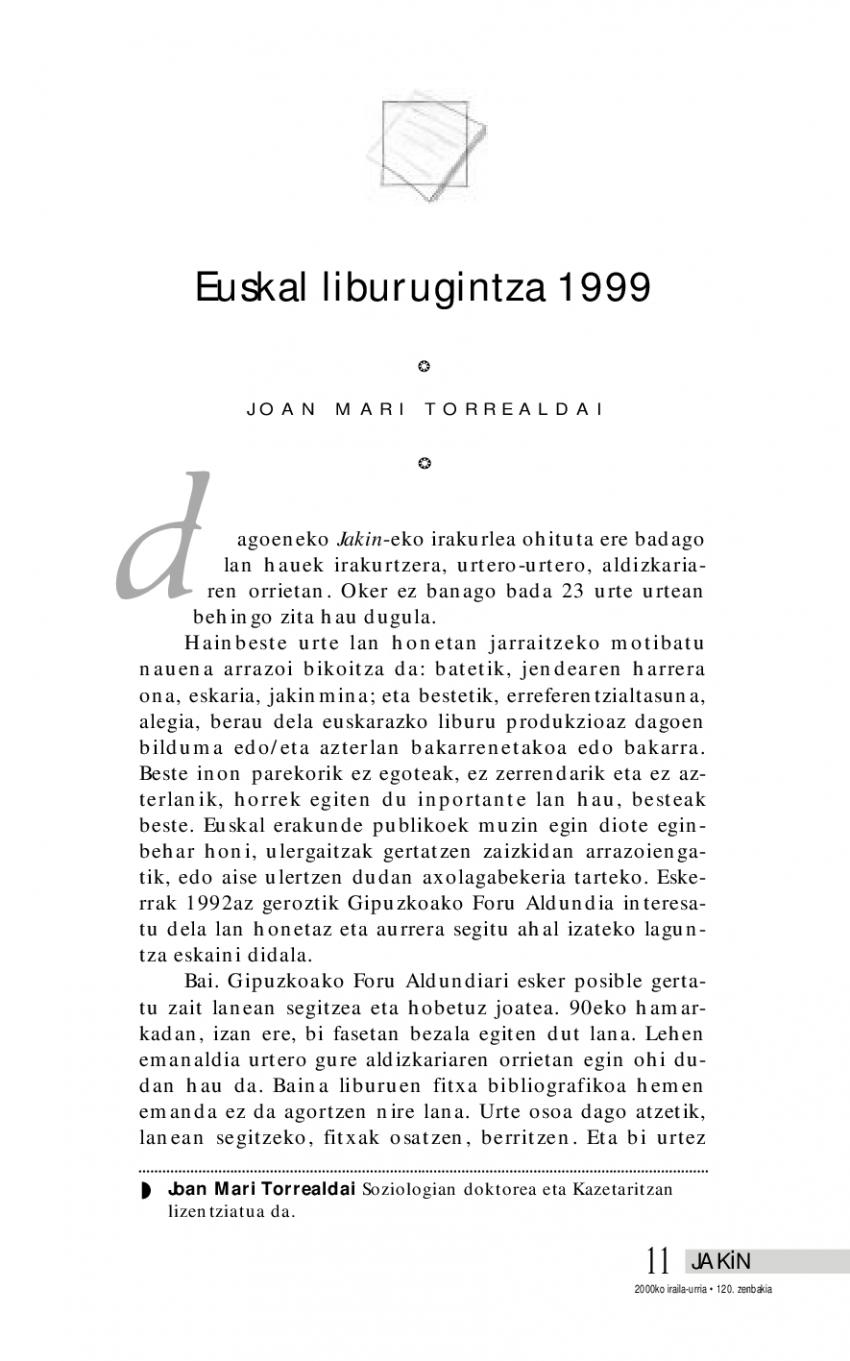 Euskal liburugintza 1999