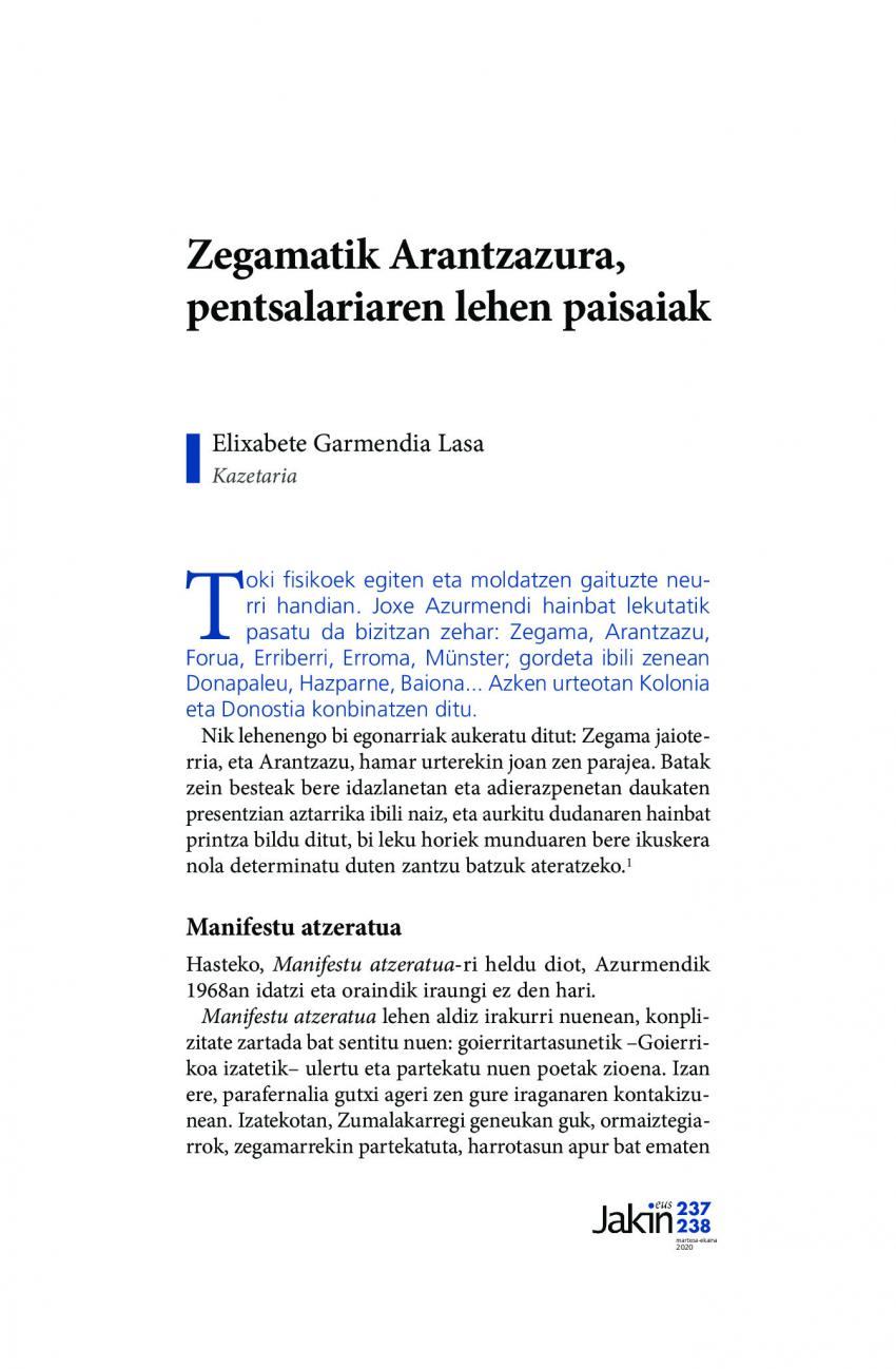 Zegamatik Arantzazura, pentsalariaren lehen paisaiak