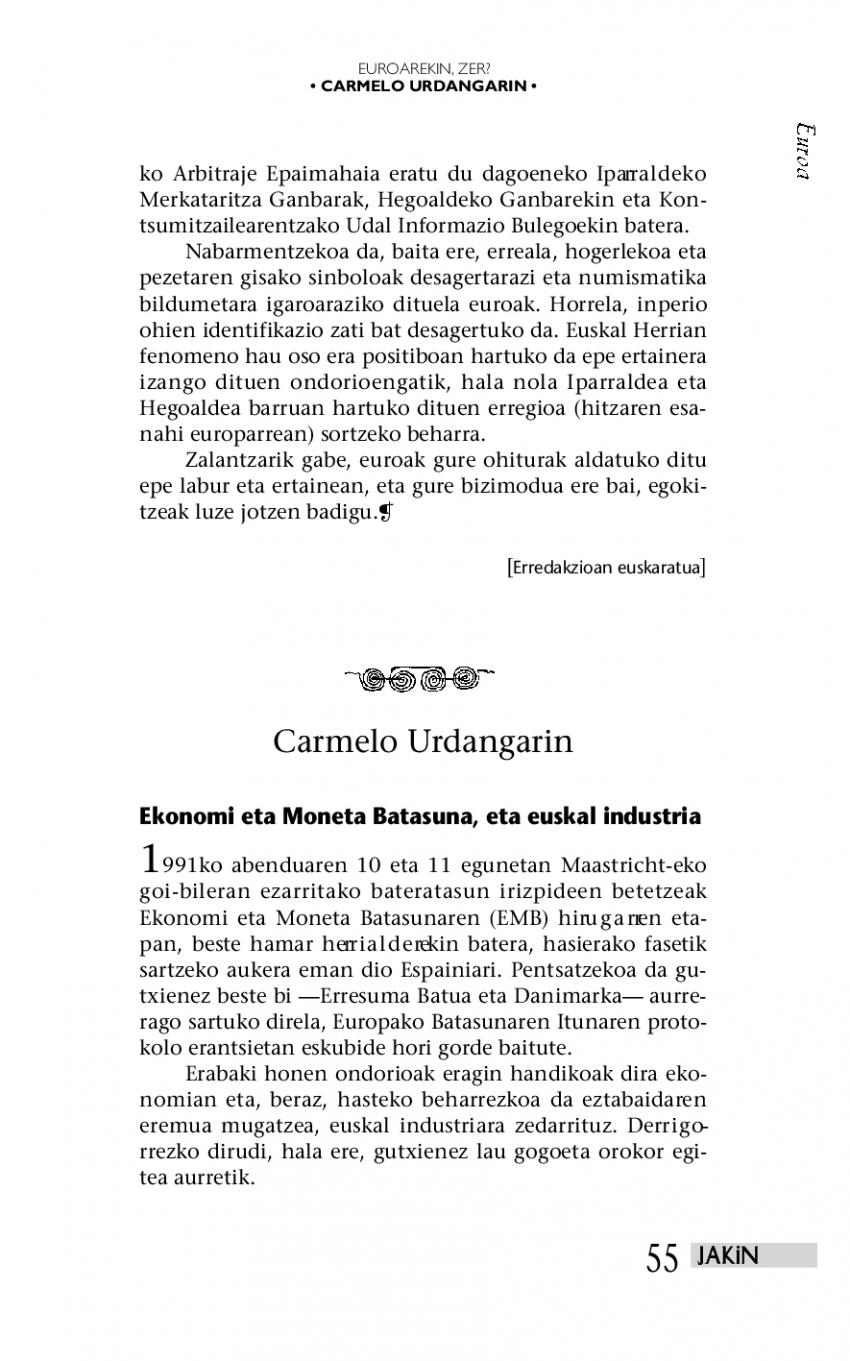 Ekonomi eta Moneta Batasuna, eta euskal industria