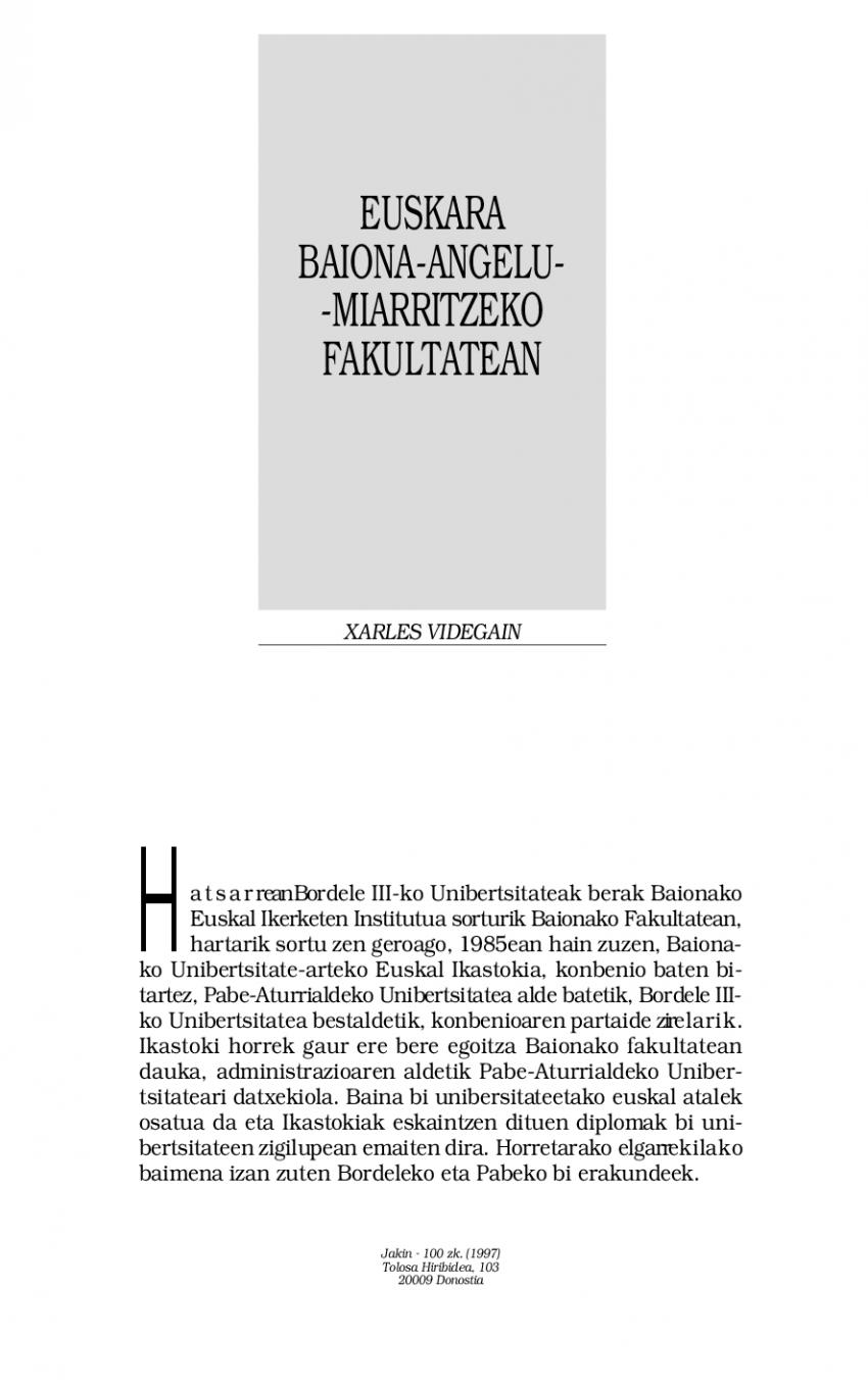 Euskara Baiona-Angelu-Miarritzeko Fakultatean