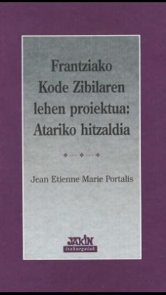 Frantziako Kode Zibilaren lehen proiektua: atariko hitzaldia