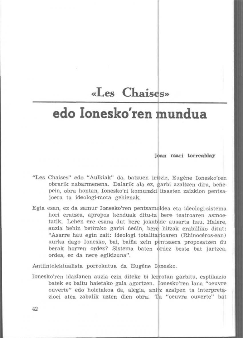 «Les Chaises» edo Ionesko'ren mundua