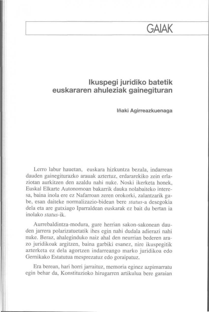 Ikuspegi juridiko batetik euskararen ahuleziak gainegituran