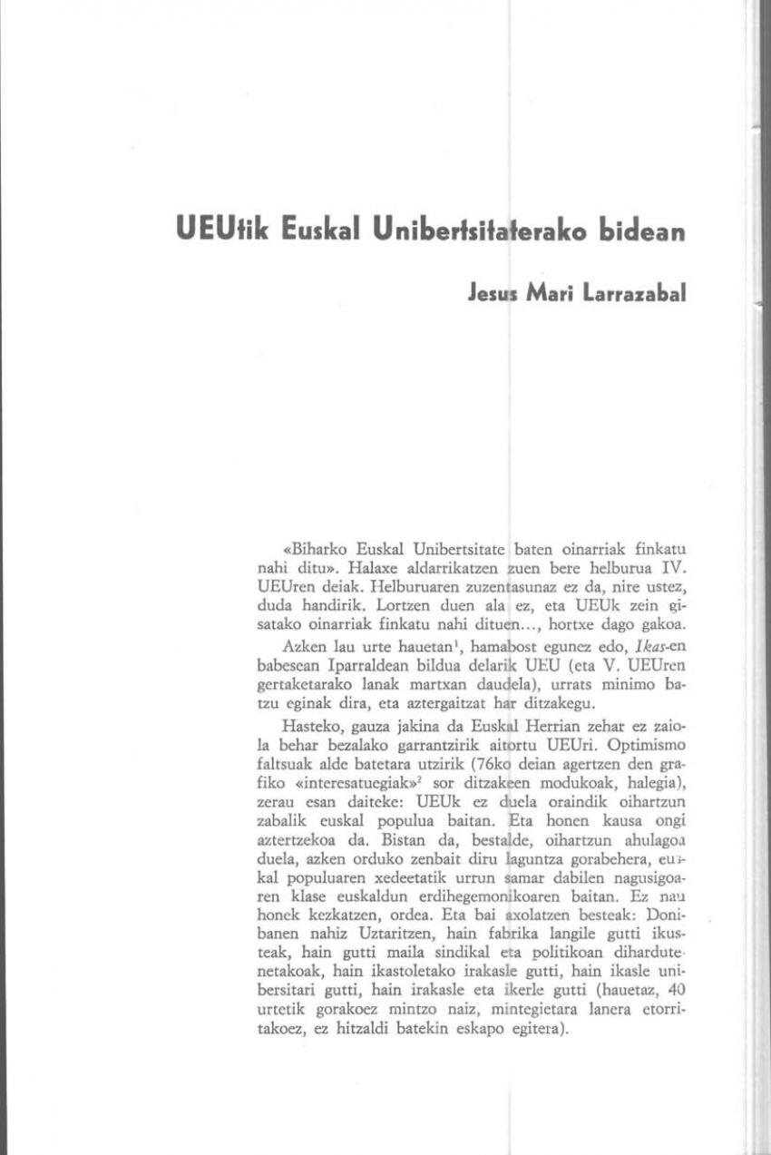 UEUtik Euskal Unibertsitaterako bidean