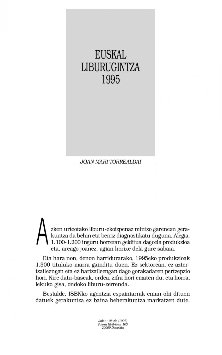 Euskal liburugintza 1995