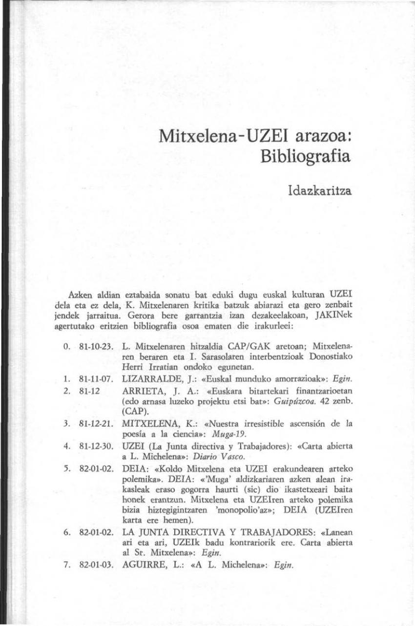 Mitxelena-UZEI arazoa: Bibliografia