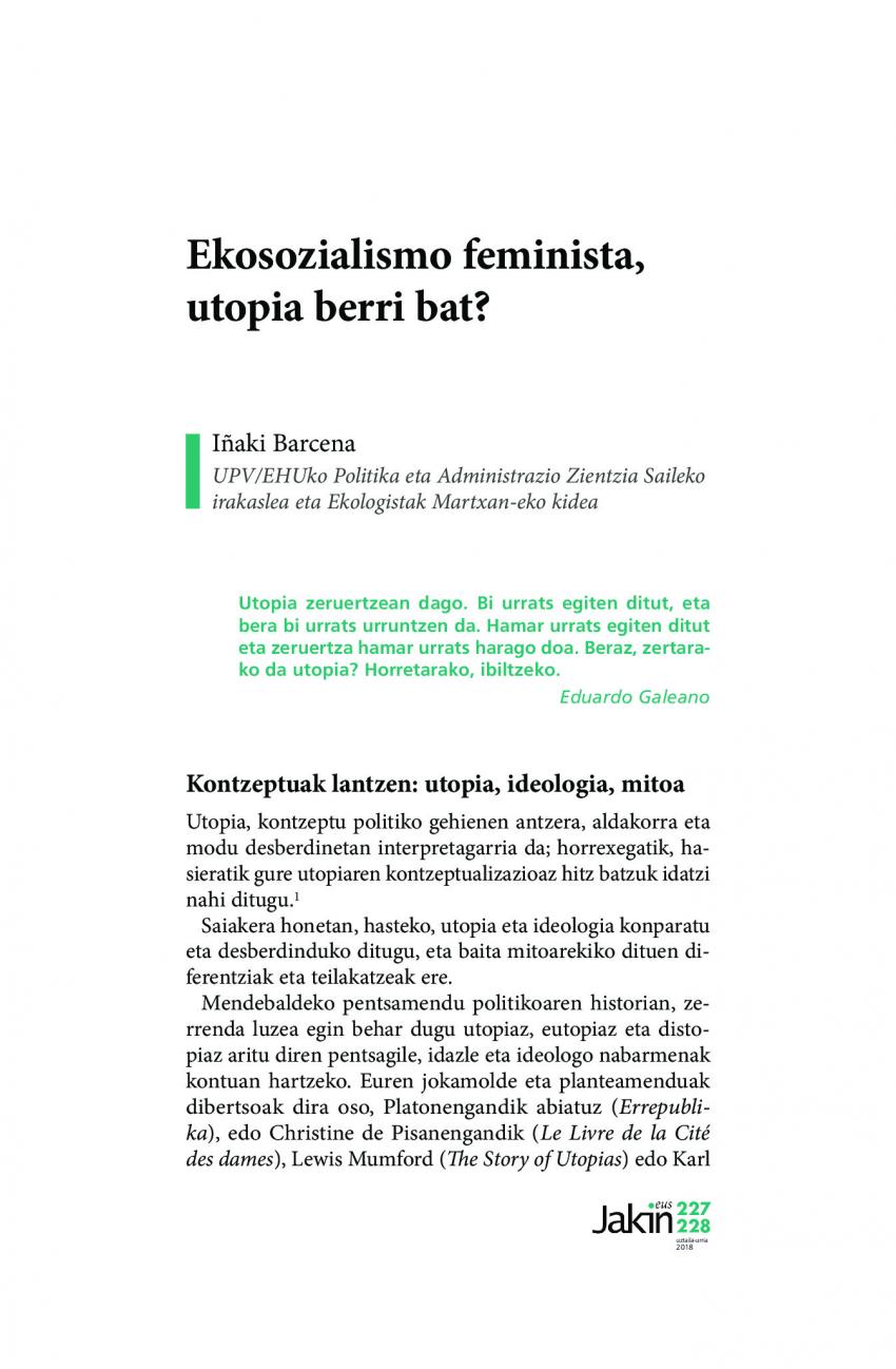 Ekosozialismo feminista, utopia berri bat?