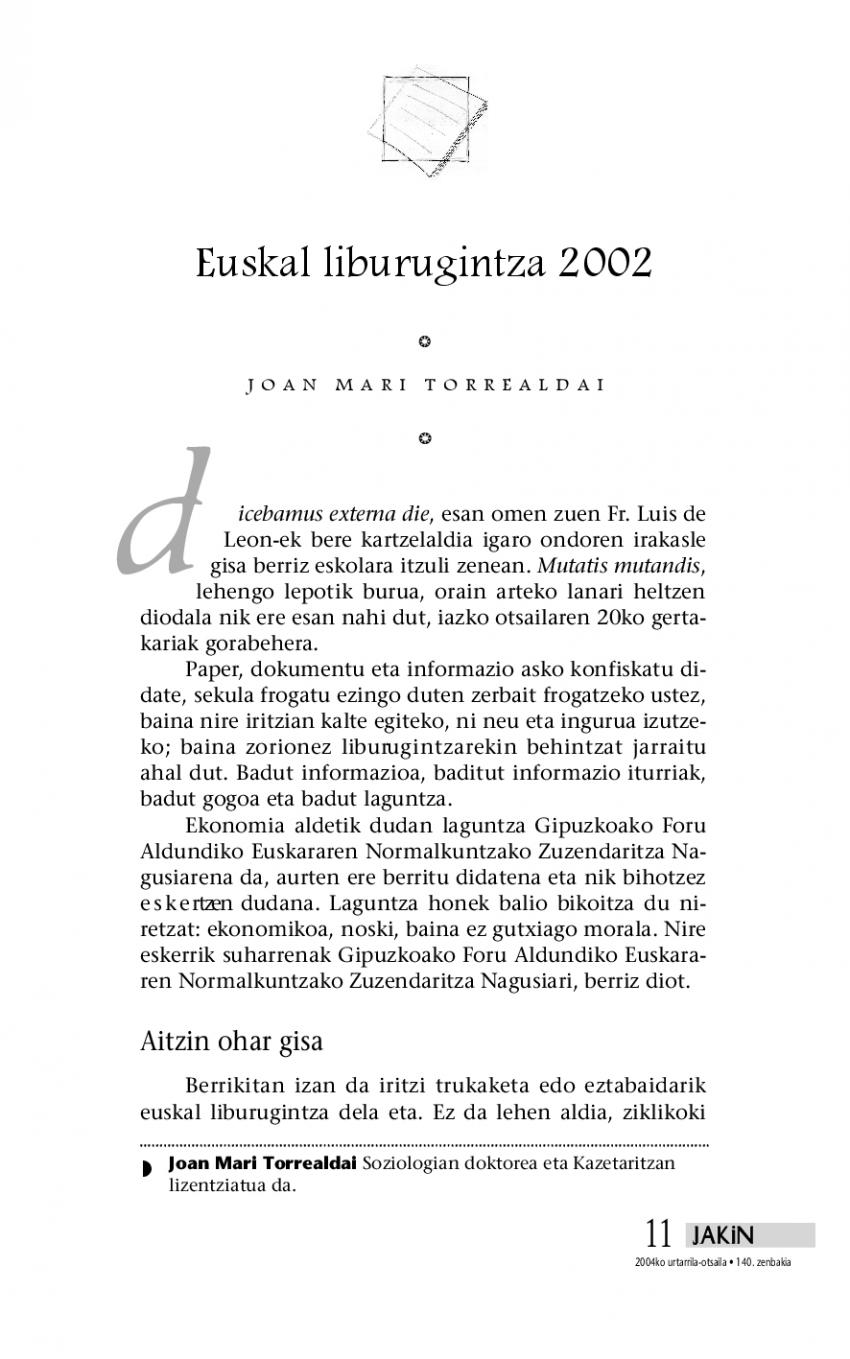 Euskal liburugintza 2002