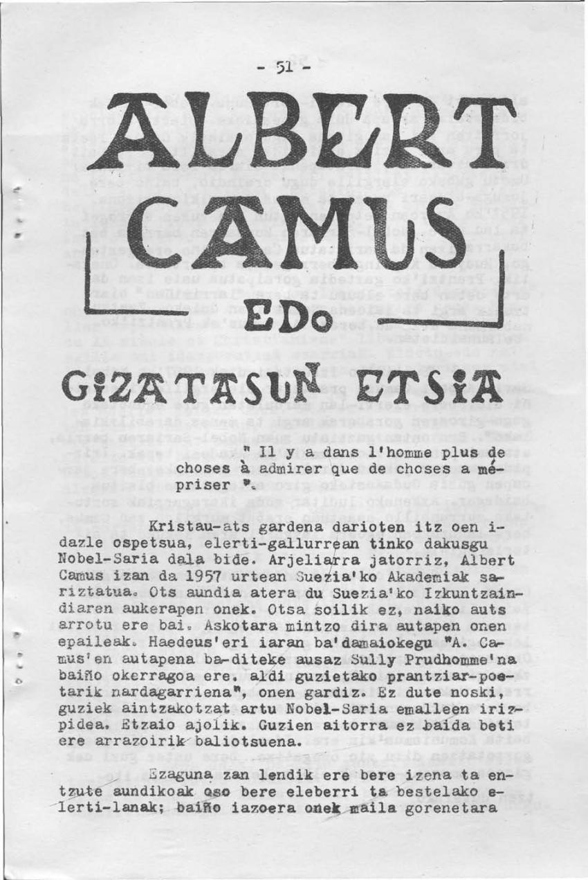 Albert Camus edo gizatasun etsia