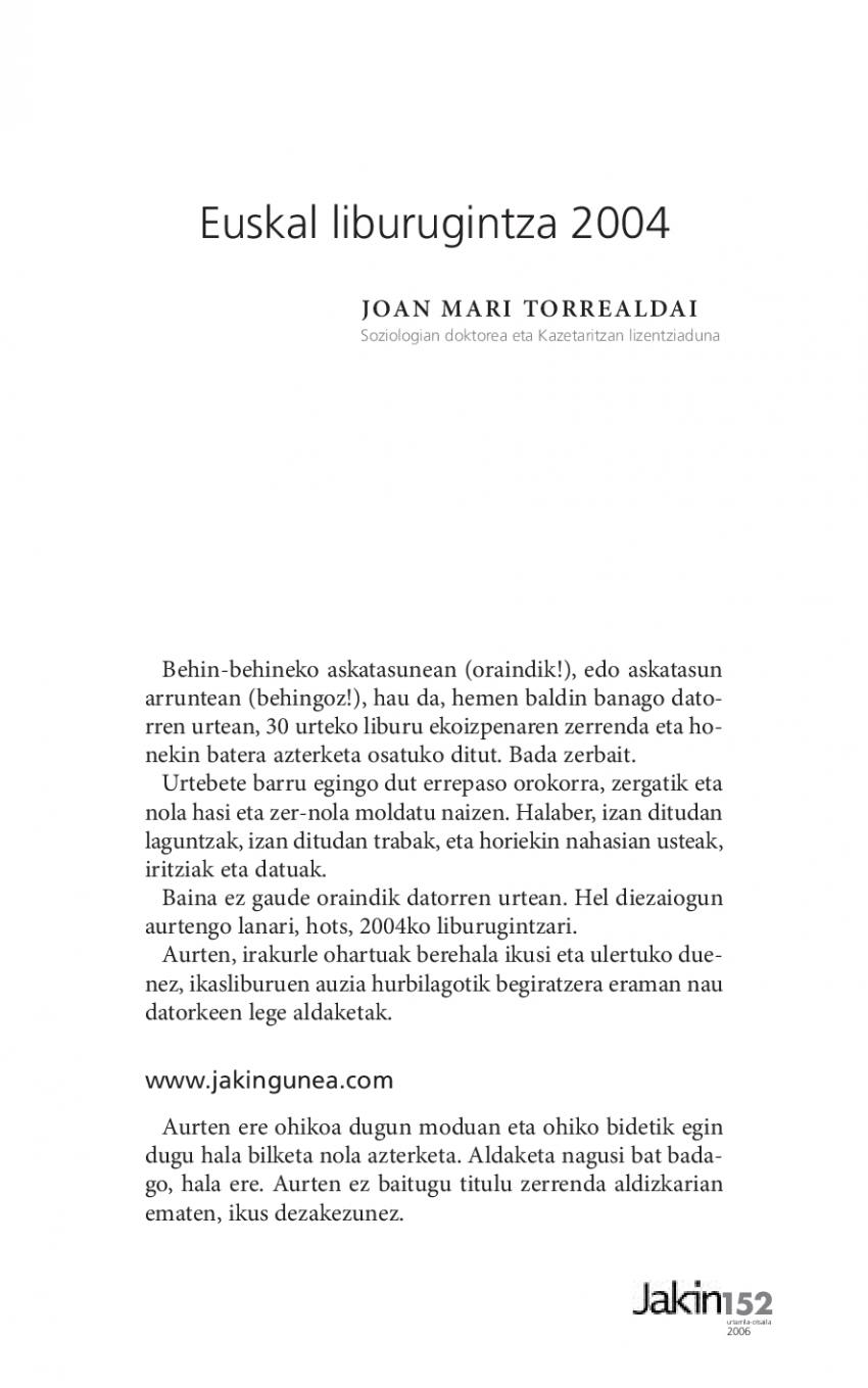 Euskal liburugintza 2004