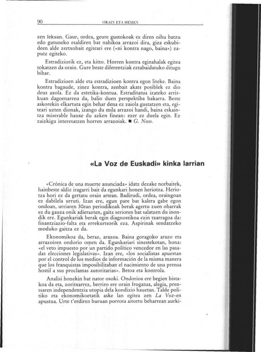 «La Voz de Euskadi» kinka larrian (Orain eta Hemen)