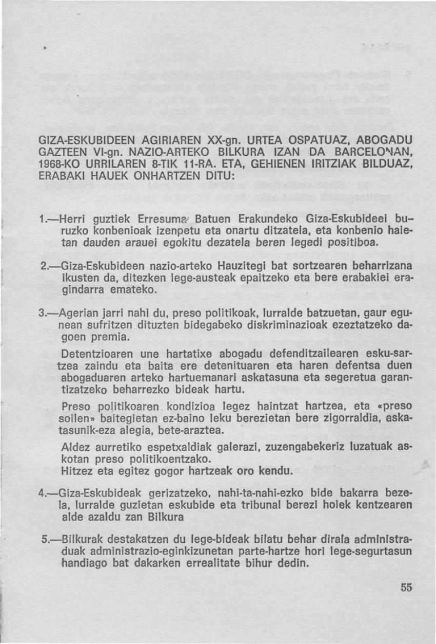 Giza-eskubideen agiriaren XX-gn. urtea ospatuaz