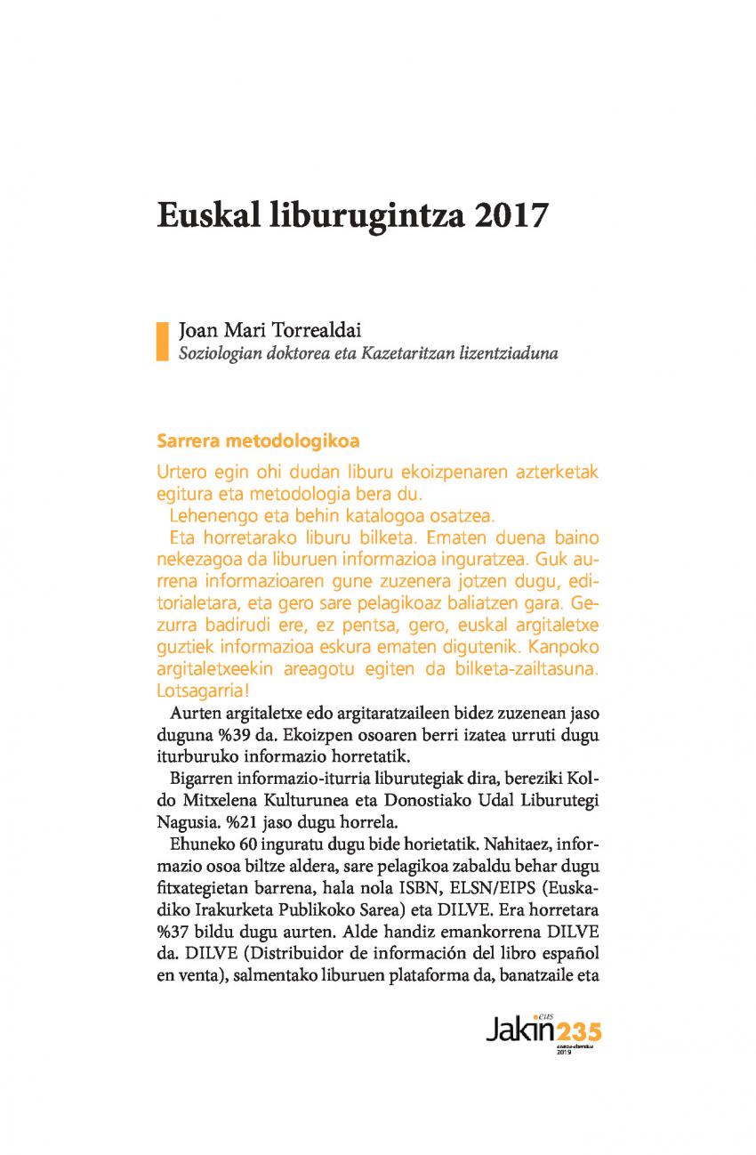 Euskal liburugintza 2017