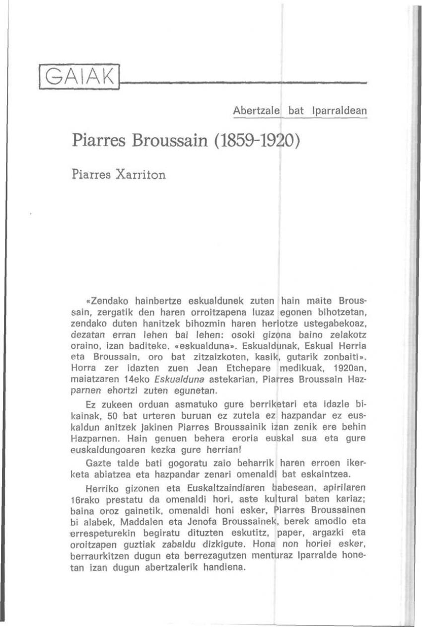 Piarres Broussain (1859-1920). Abertzale bat Iparraldean