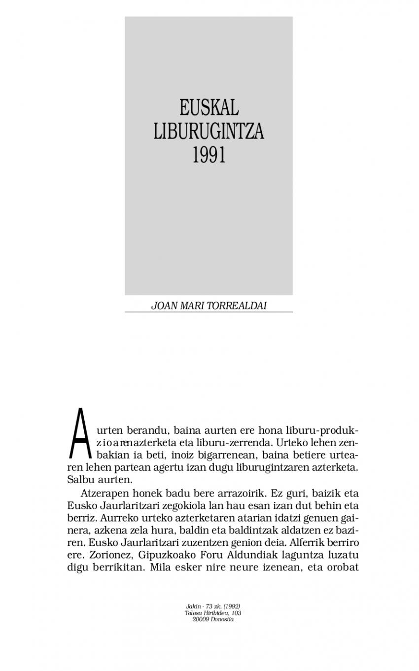 1991ko euskal liburugintza