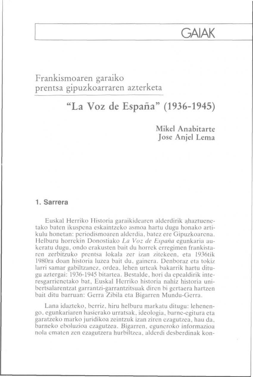 «La Voz de España» (1936-1945)