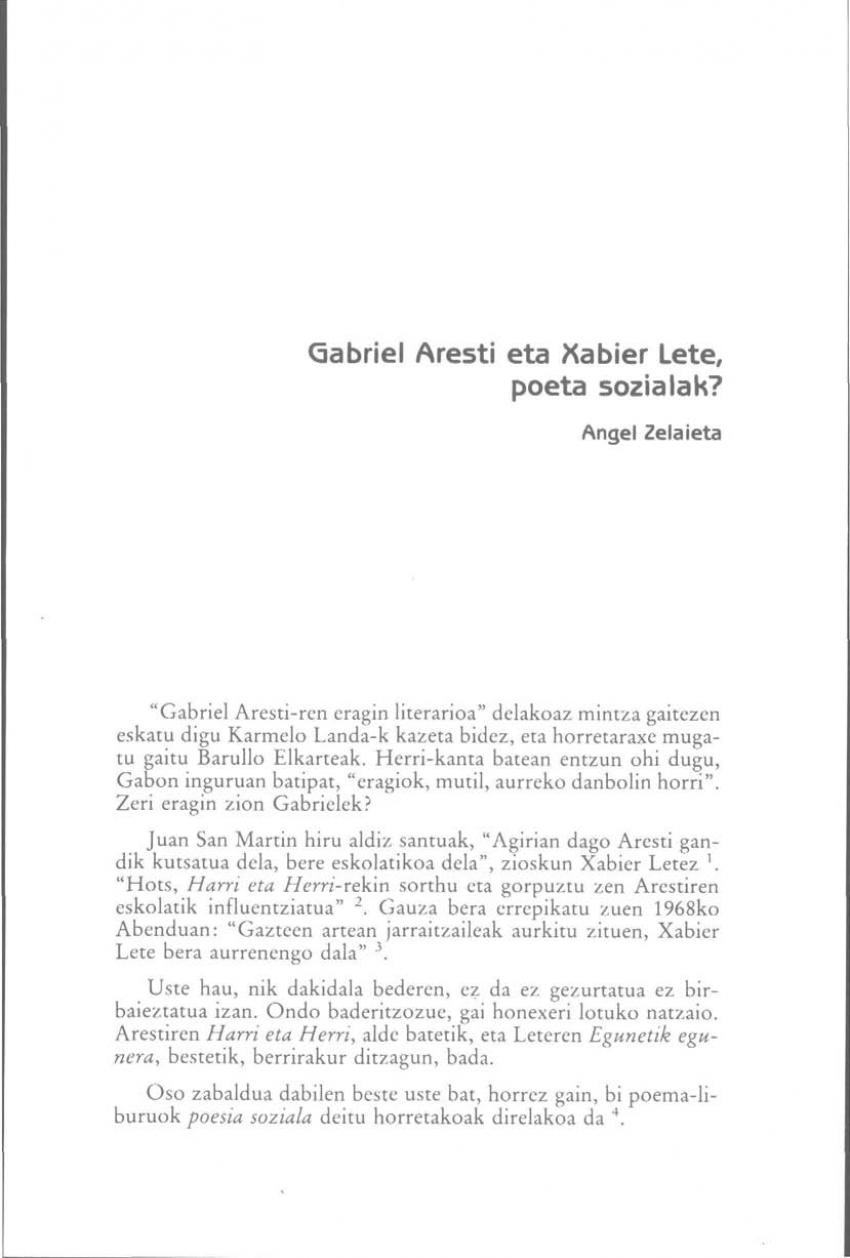 Gabriel Aresti eta Xabier Lete, poeta sozialak?