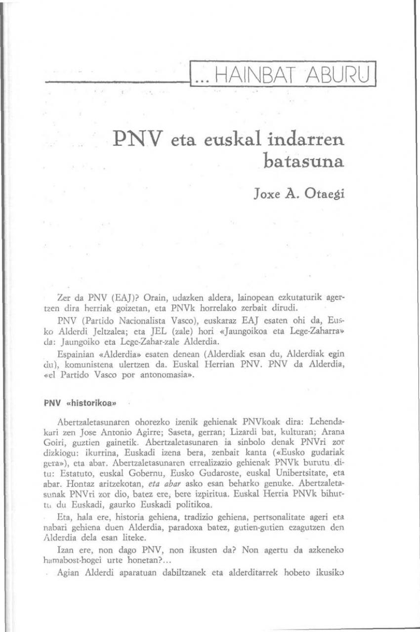 PNV eta euskal indarren batasuna