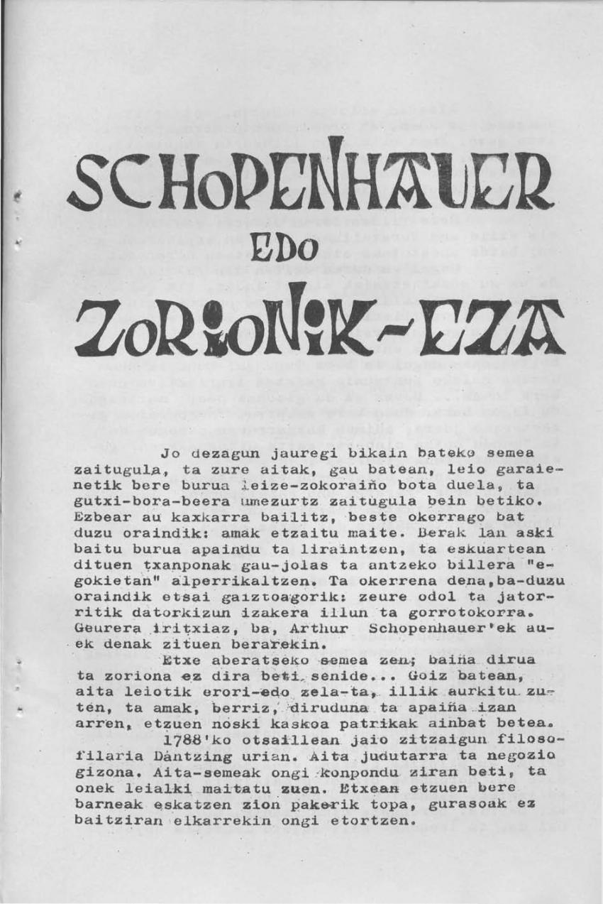 Schopenhauer edo zorionik-eza