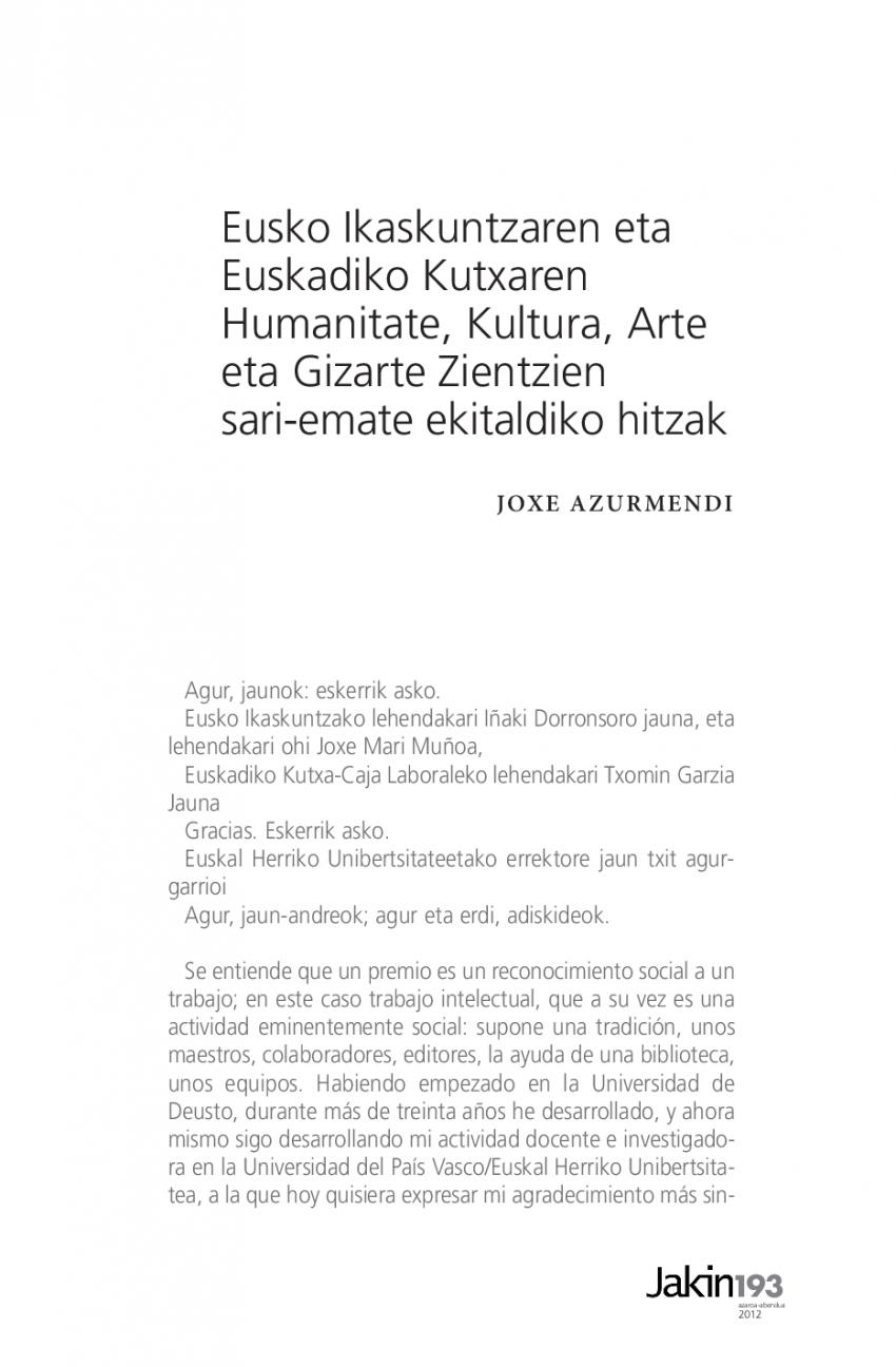 Eusko Ikaskuntzaren eta Euskadiko Kutxaren Humanitate, Kultura, Arte eta Gizarte Zientzien sari-emate ekitaldiko hitzak