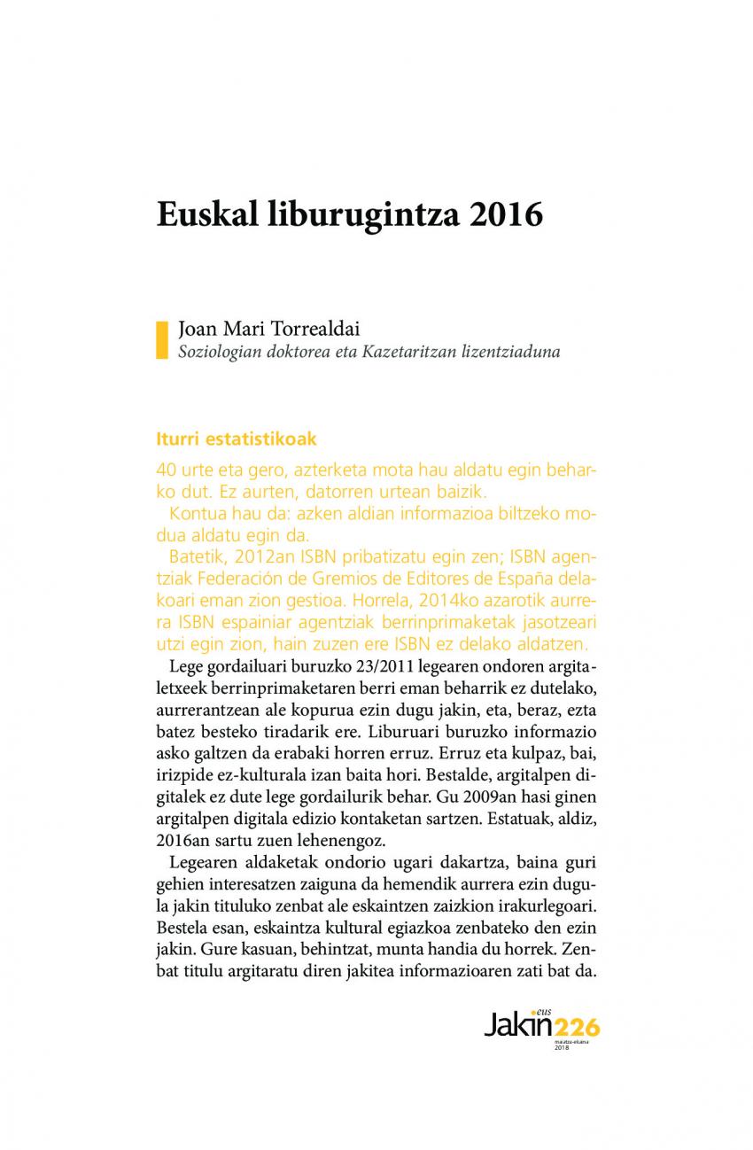Euskal liburugintza 2016