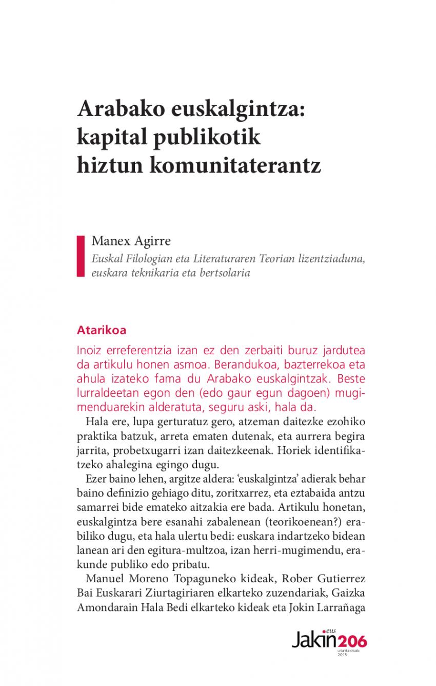 Arabako euskalgintza: kapital publikotik hiztun komunitaterantz