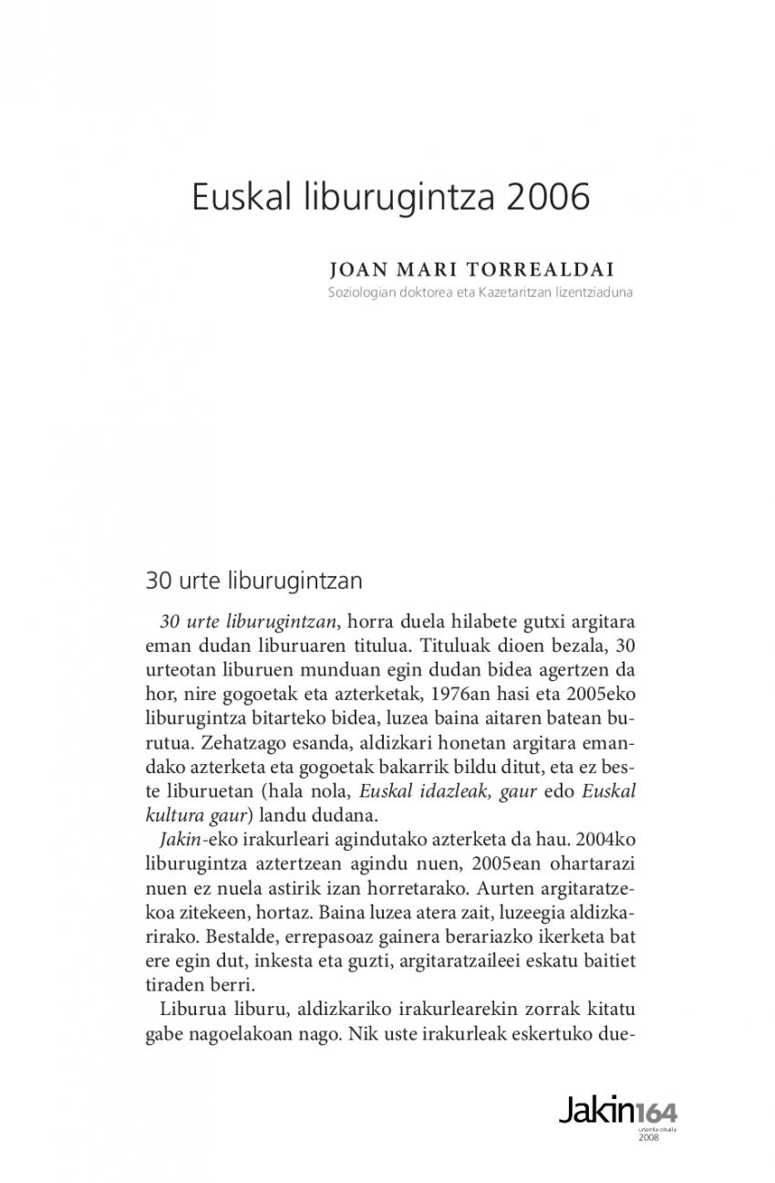 Euskal liburugintza 2006