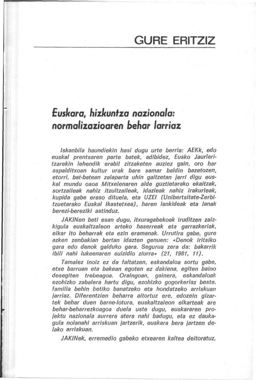Euskara, hizkuntza nazionala: normalizazioaren behar larriaz