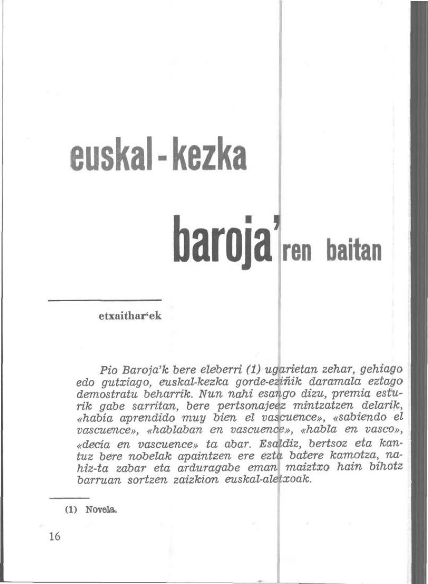 Euskal-kezka Barojaren baitan