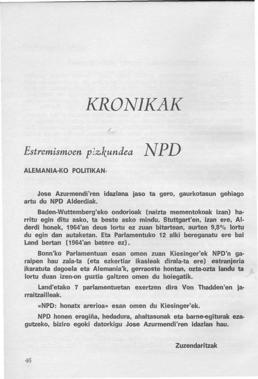 Estremismoen pizkundea (NPD) Alemania-ko politikan