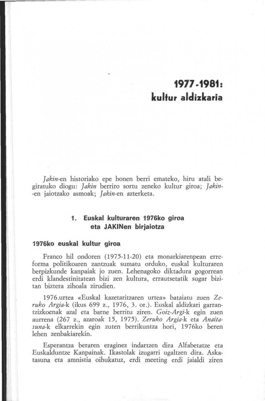 1977-1981: kultur aldizkaria