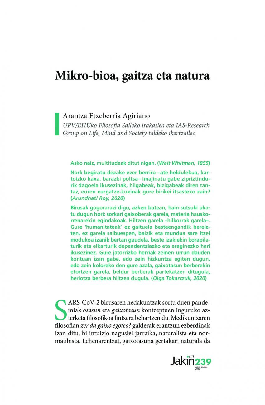 Mikro-bioa, gaitza eta natura