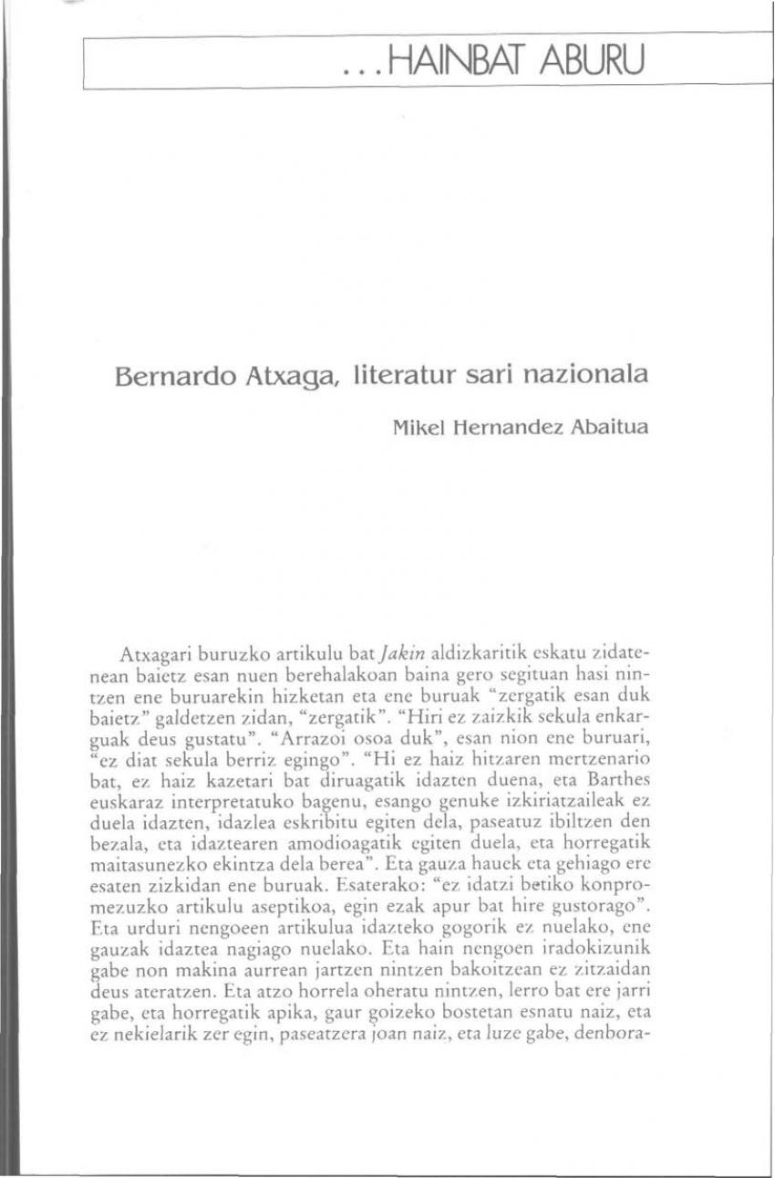 Bernardo Atxaga, Literatur Sari Nazionala