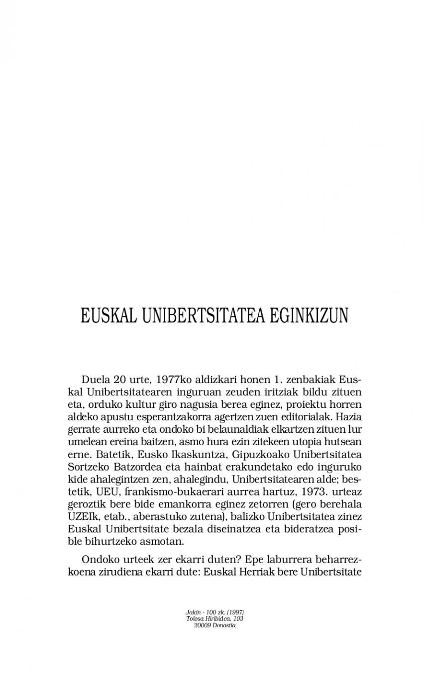 Euskal Unibertsitatea eginkizun
