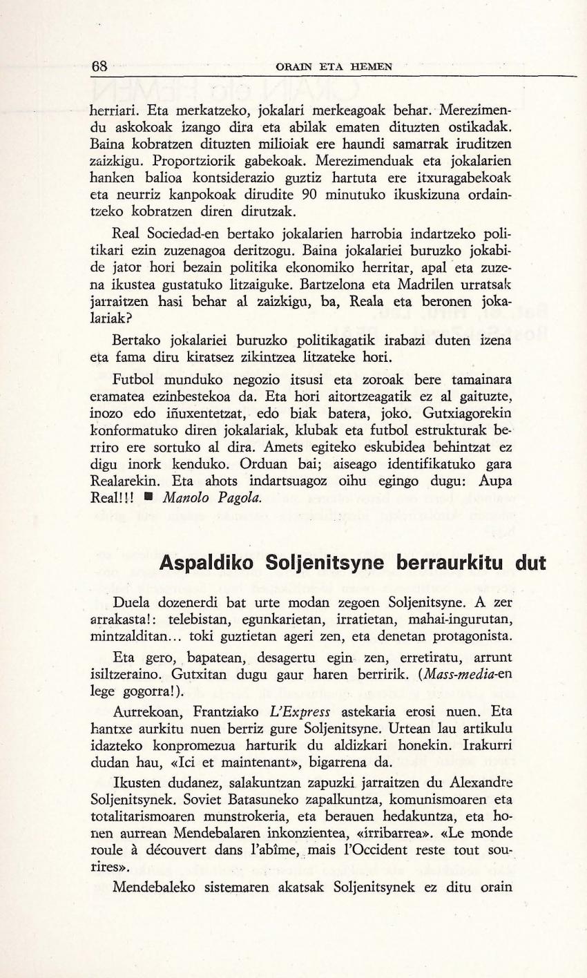Aspaldiko Soljenitsyne berraurkitu dut (Orain eta Hemen)