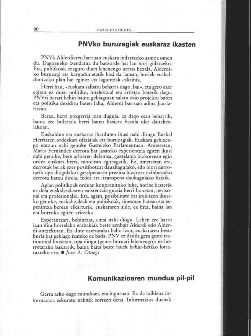 Komunikazioaren mundua pil-pil (Orain eta Hemen)