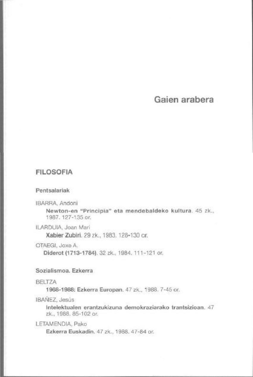 Aurkibideak: 1981-1990. Gaien arabera